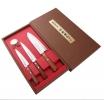 Набор SATAKE Natural Wood из 3х ножей Овощной, Универсал, Сантоку в подарочной коробке